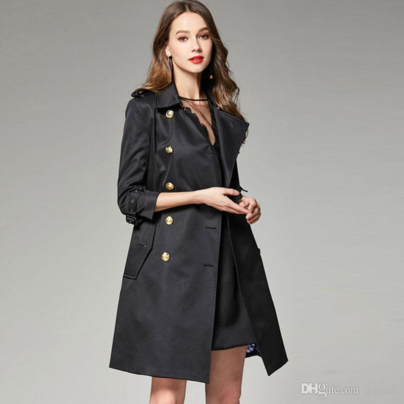 official photos 283c3 da936 Moda Donna Nero Militare Trench Vintage Trench Femme Primavera Autunno  Luxury Long Jacket Autunno Cappotti Donna Lungo cappotti