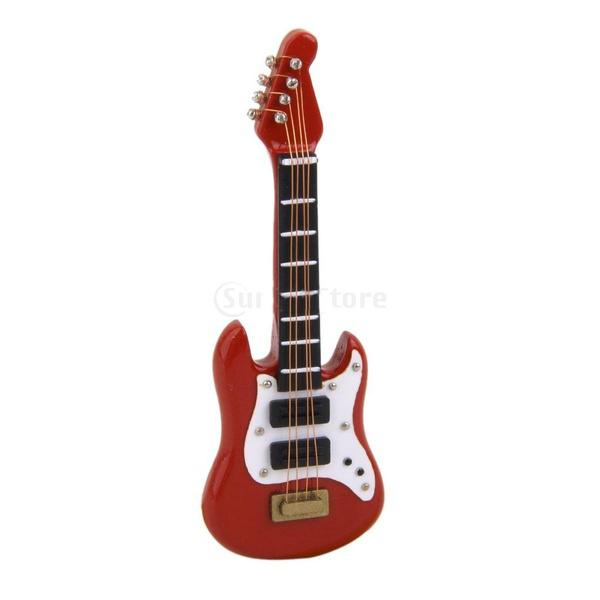 HOT SALE 1:12 Dollhouse Miniature Music Instrument Acoustic Guitar Red