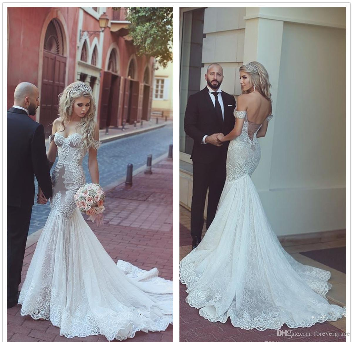 2018 Mermaid Illusion Wedding Dress Lace Off Shoulders Long Backless ...