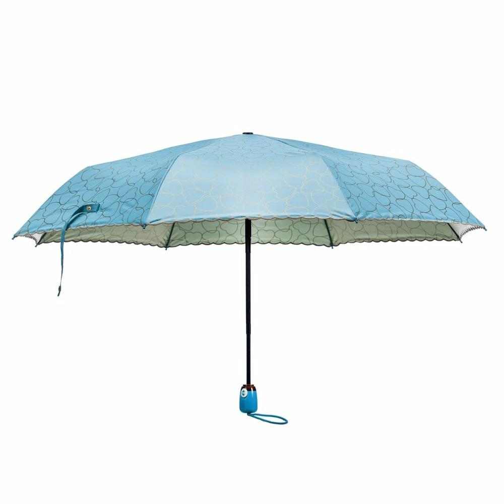bbab372fe492 OUTAD Compact Size Women Dual Use Sun Rain Umbrella Fashionable Outdoor  Travel UV Protective Windproof 3-Folding Umbrella