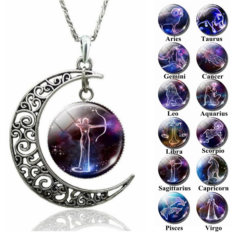2018 12 Zodiac Sign Glass Dome Moon Necklace Aries Taurus