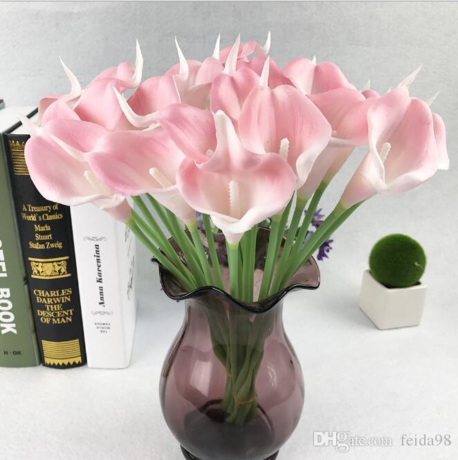 Vente chaude Calla Lily De Mariée Mariage Bouquet Tête Latex Real Touch Fleur Artificielle GA52