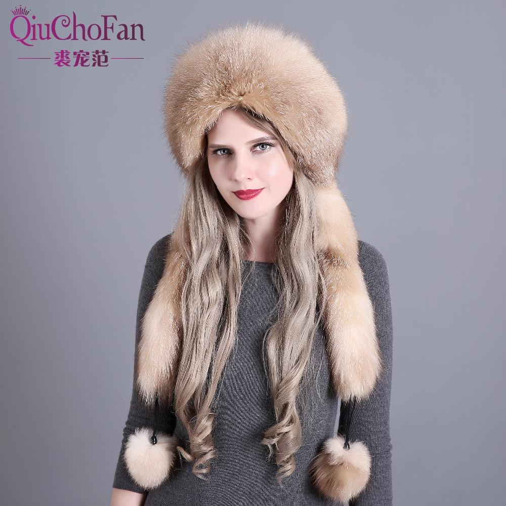 1287f36c3ad34b Women's Winter Hats Genuine Fox Fur & Rabbit Fur Hat with 2 Pompons ...