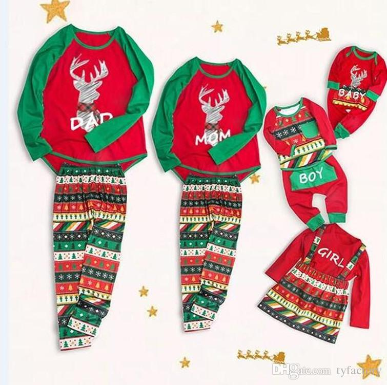 6d3f0cf8e 2018 Christmas Family Matching Clothing Pajamas Reindeer Geometric ...
