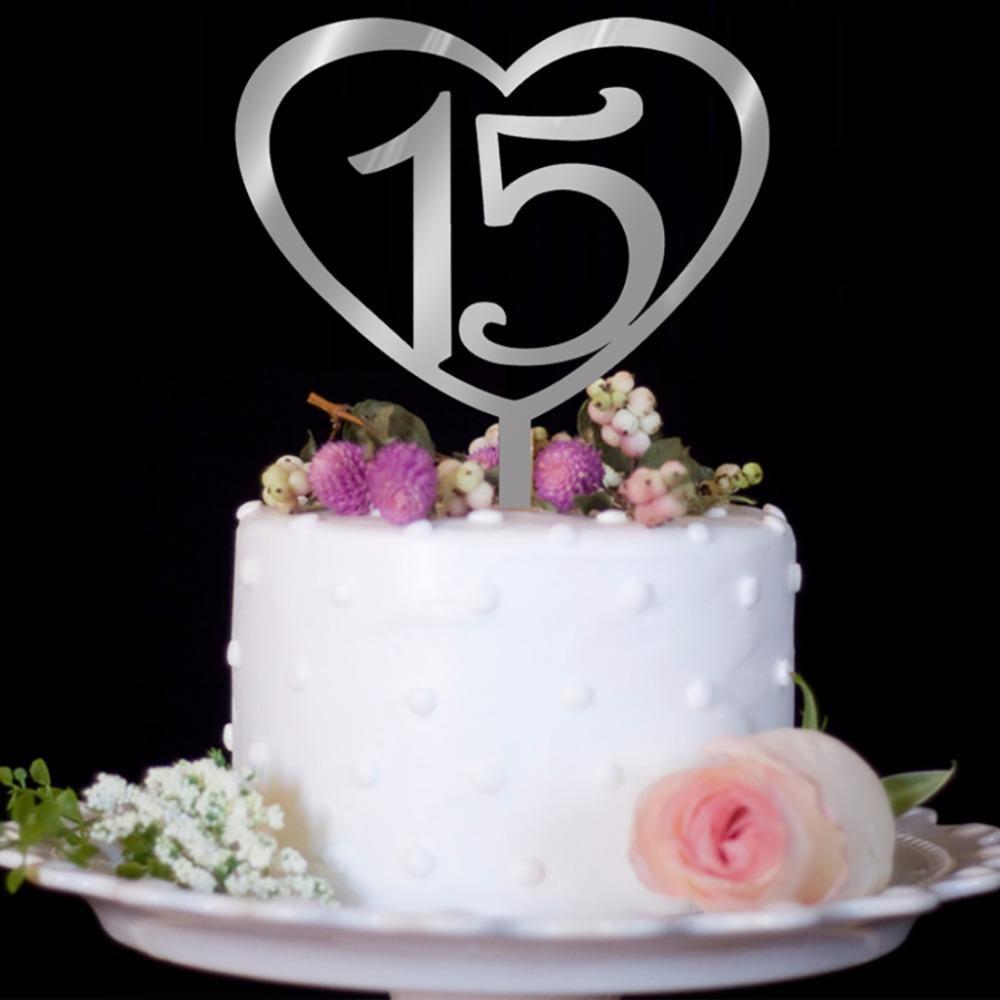 1Pc Wood Number Styling 15th 25th 30th 50th Birthday Cake Topper Party Favors For Wedding Anniversary Decoration Supplies C42