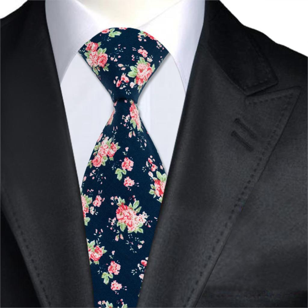 43d8d69f6841 2019 A 1373 Navy Blue Floral Mens Ties 100% Cotton Print Neck Ties ...