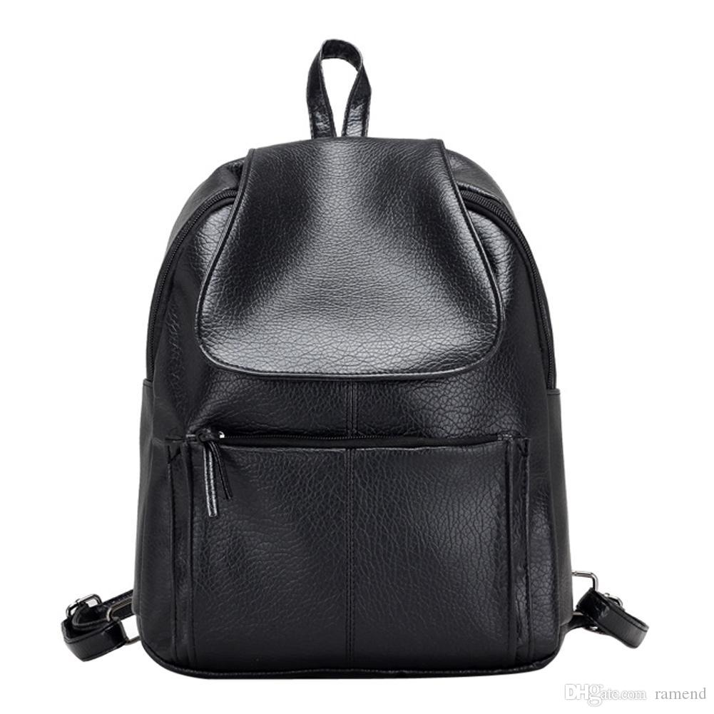 61521c554d7c Wholesale Women Leather Black Backpack Small Minimalist Solid Black School  Bags For Teenagers Girls Feminine Backpack Simple Design Girl Backpacks  Toddler ...