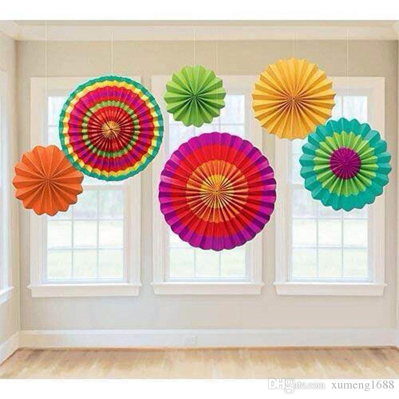Stripe Dot Paper Fans Round Wheel Disc Birthday Kids Party Wall ...