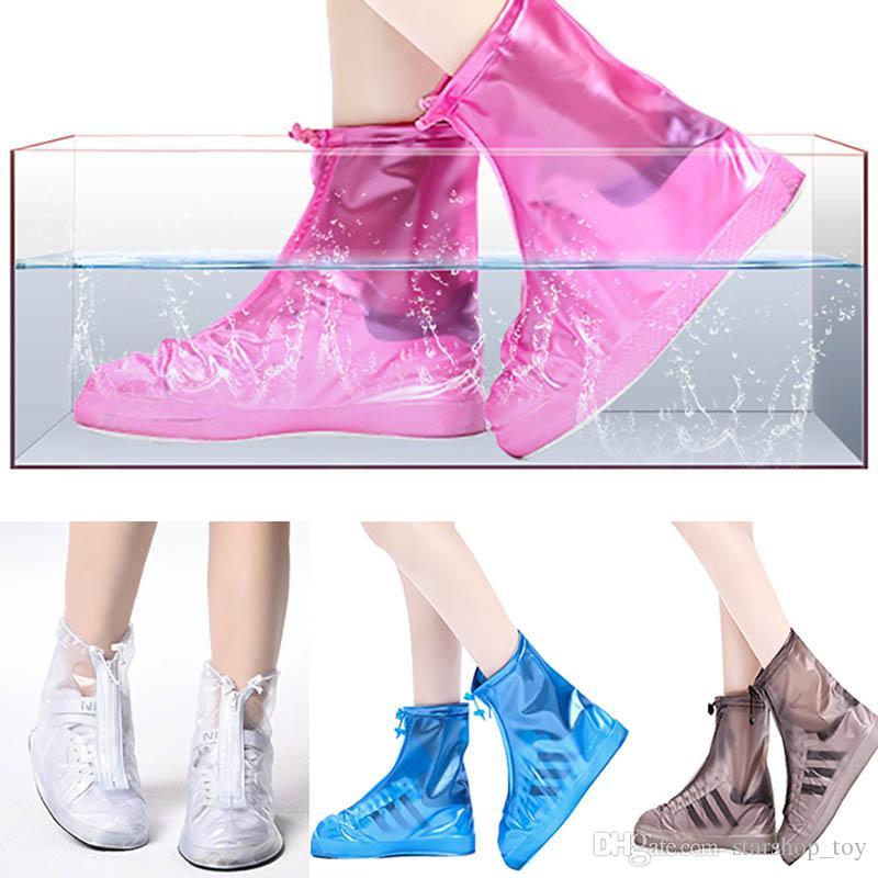 51a42f456d Waterproof PVC Reusable Rain Shoe Covers Anti-Slip Printed RainShoe Zipper  Rain Boot Overshoes Waterproof Wear Resistant Shoes Cover TY7-184