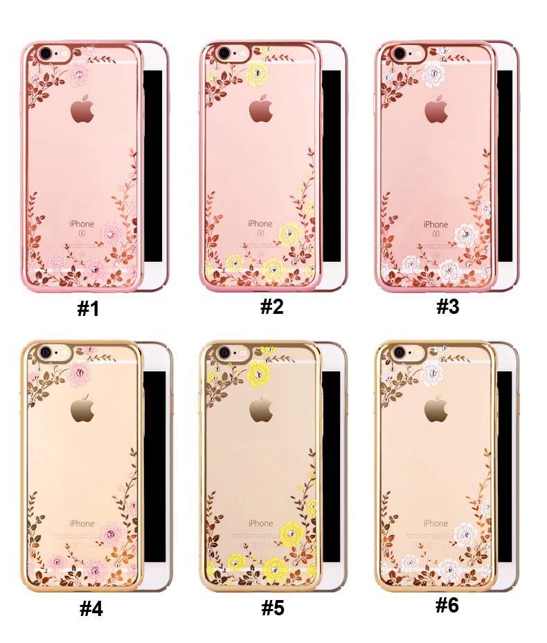 2018 Lüks Bling Elmas Elektrolizle Çerçeve Yumuşak TPU Telefon Kılıfı Için iPhone 5 6 6 s 7 Artı S6 S7 S8 Çiçek Temizle Kapak