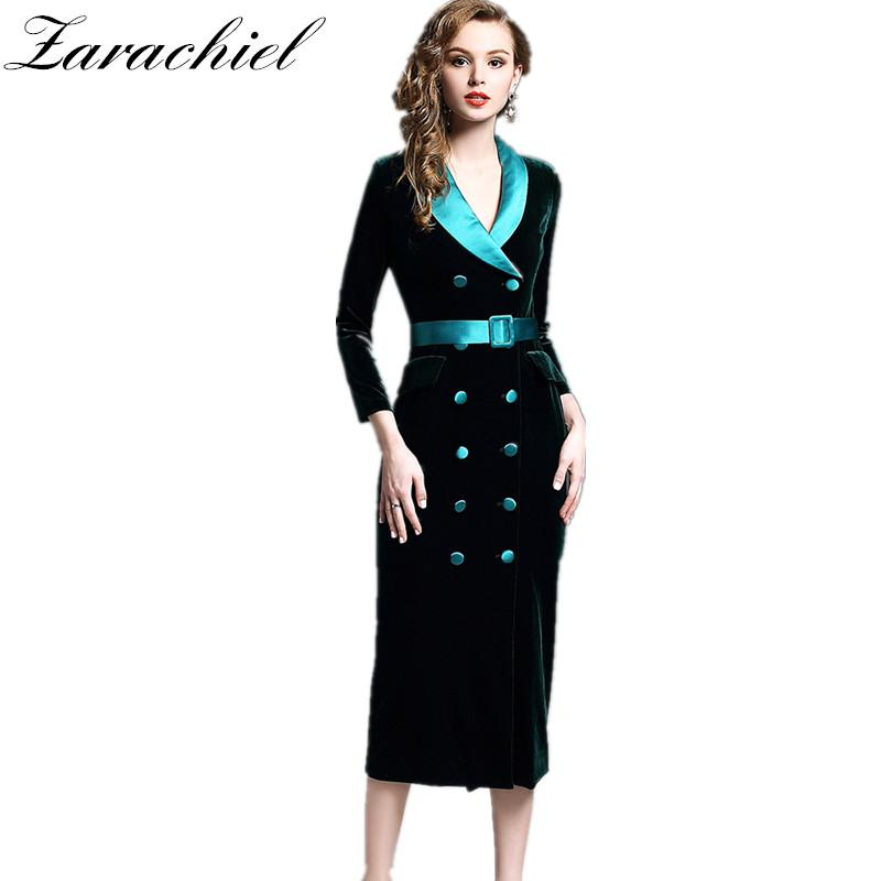 7070a9bcbeeb6 2019 Women Winter Long Sleeve Satin Notched Double Breasted Velvet Dress  Sashes Office Slim Fit Split Long Dress Vestidos Maxi From Cute08, $56.22 |  DHgate.