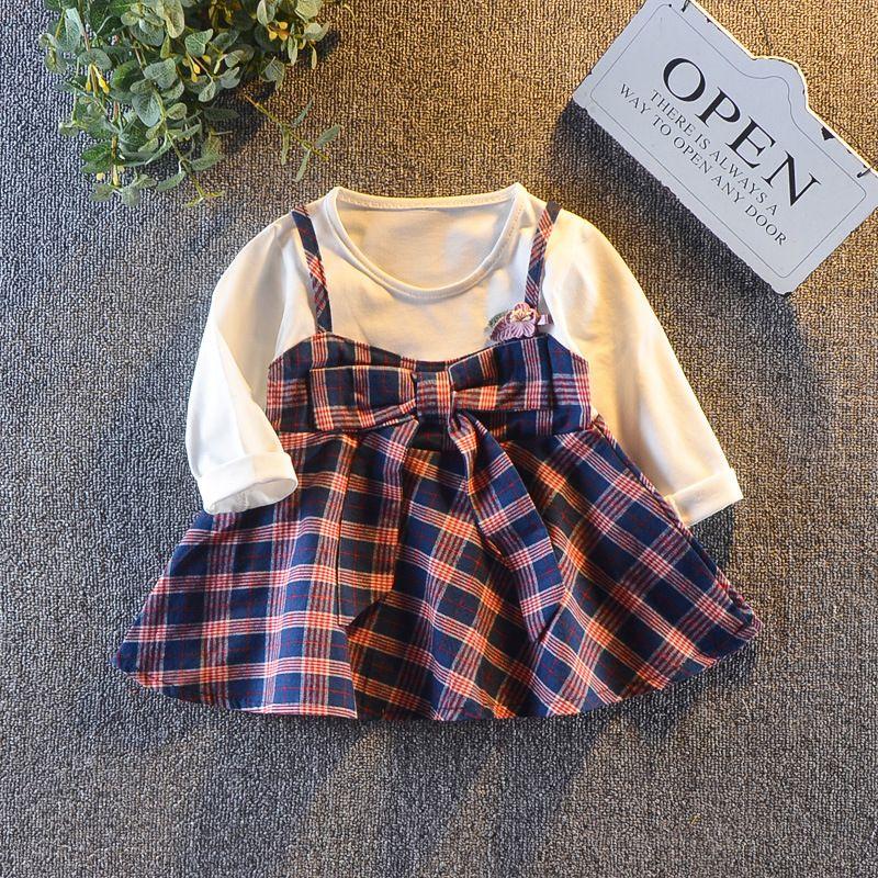 Compre Ropa Para Niñas Bebés Vestidos A Cuadros 2018 Otoño Niña Princesa  Para Prendas De Vestir De Manga Larga Para Niños Vestidos Vestido Para Niña  Púrpura ... 093fae451a42