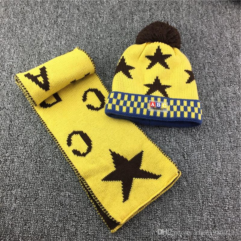 20af523e0e2816 2019 Baby Hat Boys And Girls Five Pointed Star Knit Sets Of Woolen Caps  Children Plus Velvet Warm Hat Winter Bonnet From Chen19860223, $17.37 |  DHgate.Com