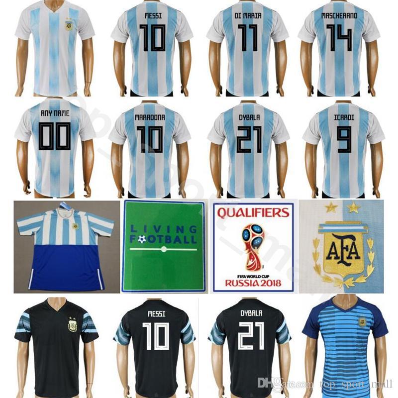 572bb1aa274 2018 2018 World Cup Argentina Jersey National Team Soccer 10 Messi Football  Shirt Men 11 Di Maria 14 Mascherano 19 Kun Aguero 9 Higuain Custom From ...