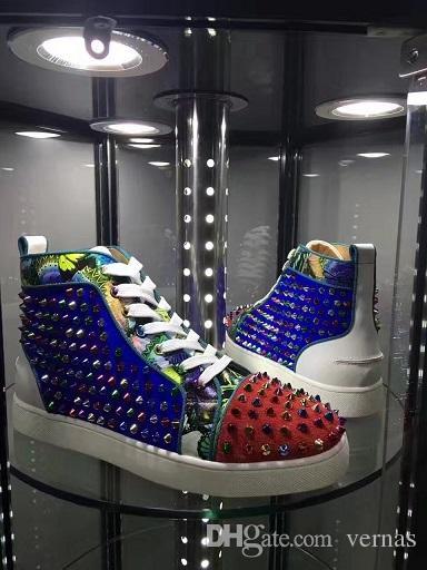 Preferisco le punte da regalo High Top Red Bottom Sneakers con borchie Scarpe da donna, uomo Luxury Designer Flat Casual rosso Sole trainers autunno inverno 35-46