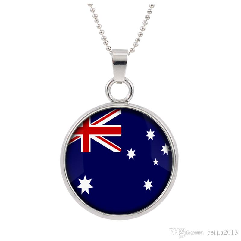 New Three-dimensional 2018 World Cup Australia Necklace Pendant colorful pendant Glass Cabochon Dome Necklaces jewelry Bestselling customed