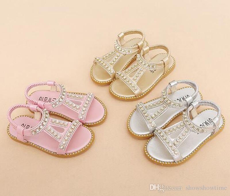 2018 Yaz Kore Tarzı Bling Bling Kristal Boncuklu Kız Ayakkabı Yeni Prenses Lüks kızın Sandalet Çocuklar Ucuz Ayakkabı 3 renkler