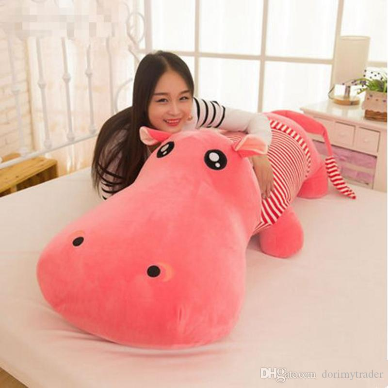 Dorimytrader Huge Soft Animal Lying Hippo Plush Toy Big Cartoon Hippos Doll Animals Pillow Gift for Girls and Boys 180cm 71inch DY61966