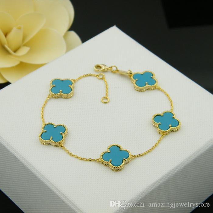 Fiore di marca di vendita calda con cinque fiore natura pendente braccialetto di pietra le donne regalo di nozze gioielli agata rosa blu turchese PS6219