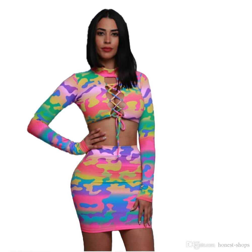0426ceef68a4 Langärmelige sexy Frauen print Kleid o Hals schnüren sich oben Herbst  Verband bodycon Kleid lässig