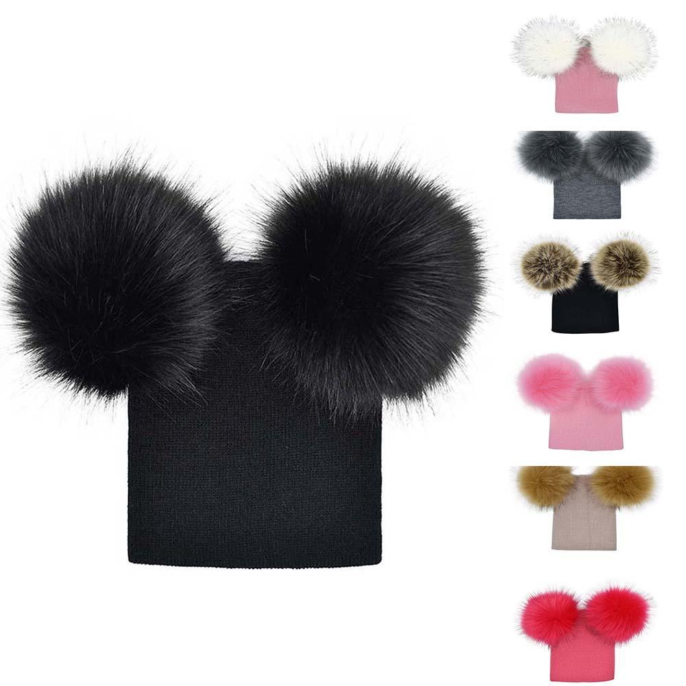 f11c257fb8a9e4 2019 Winter Kids Faux Fur Crochet Hat 2 Plush Balls Toddler Girls Knitted  Beanie Children Warm Pom Poms Cap XRQ88 From Jaokui, $25.87 | DHgate.Com