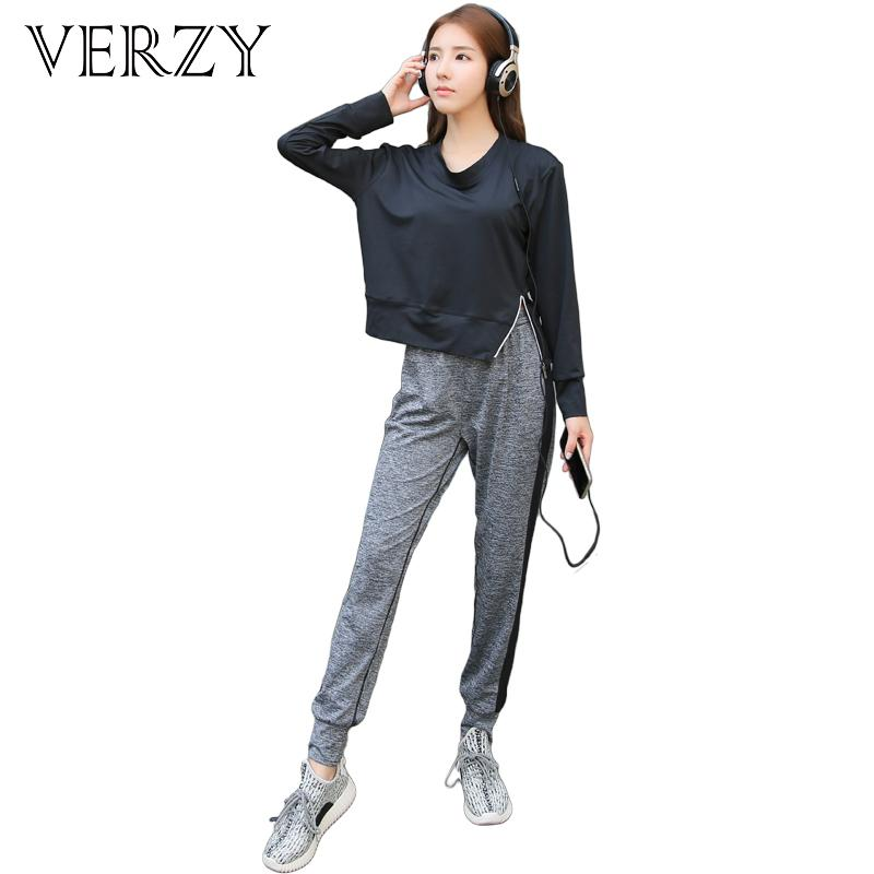 96482cde5db63 2019 VERZY Women Yoga Set Sports Bra+Hoodie With Zipper+Loose Pants Solid  Plus Size Outdoor Gym Clothes Running Sportswear From Monida