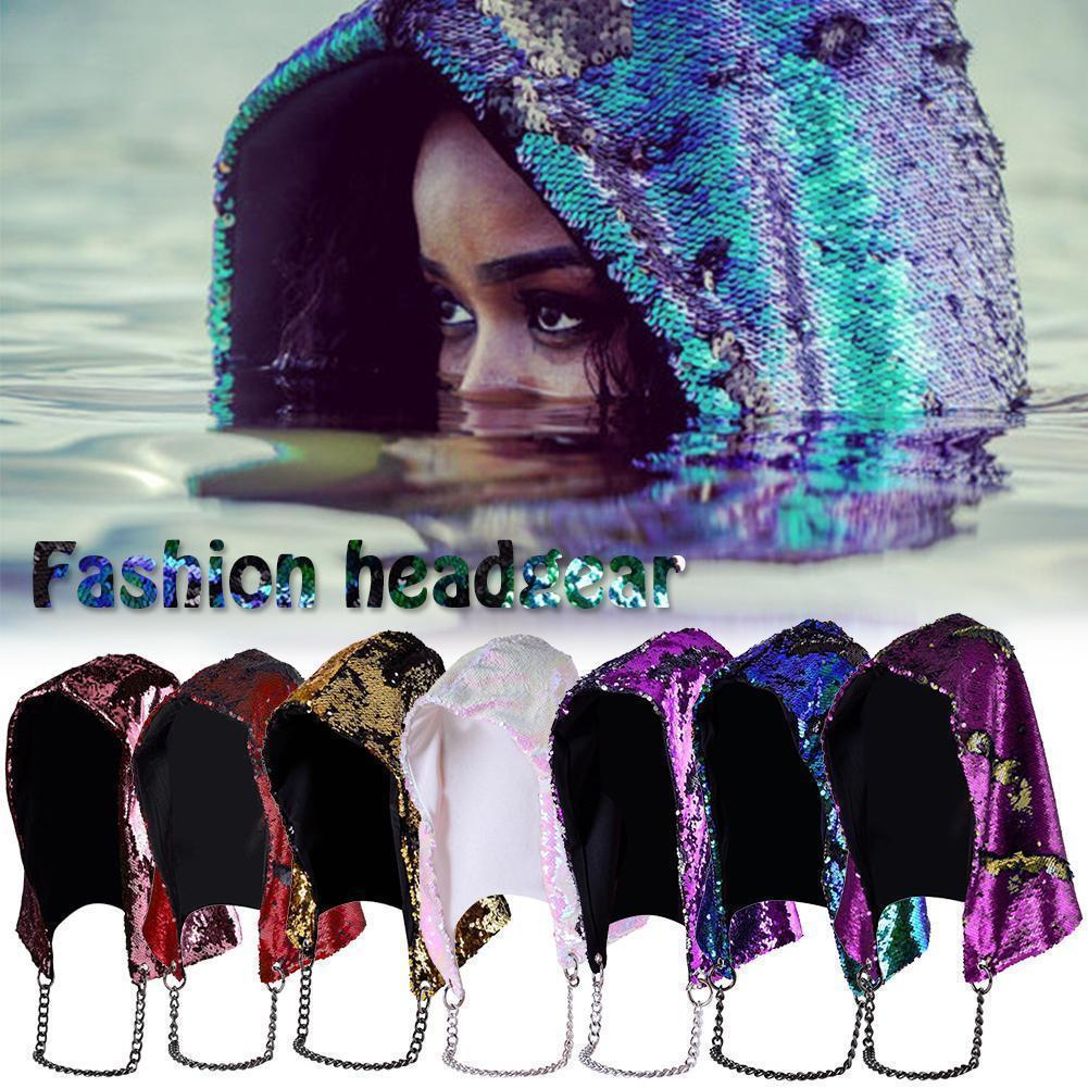 4841150a313 8styles Women Reversible Mermaid Sequin Hat Dancing Glitter Hood Hat ...