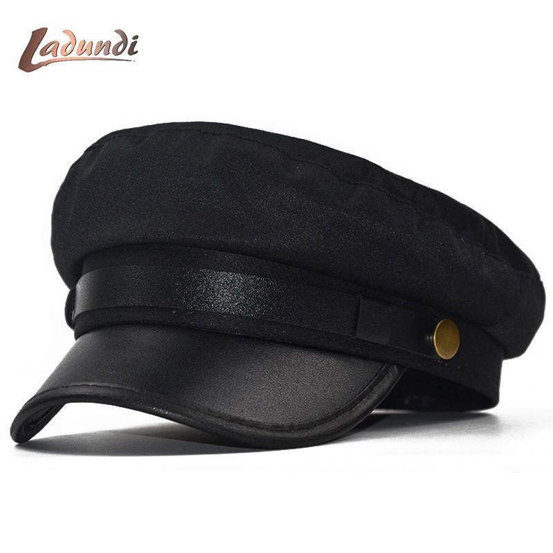 e110100ae0faf 2019 Cap Hat Female Winter Hats For Women Men Ladies Army Militar Hat Pu  Leather Visor Black Cap Sailor Bone Male From Beasy110