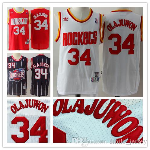 separation shoes 66b60 838d2 Retro Mens 34 Hakeem Olajuwon Houston Rockets Basketball Jerseys Authentic  Stitched Hardwood Classic Mesh Hakeem Olajuwon Retro Jerseys
