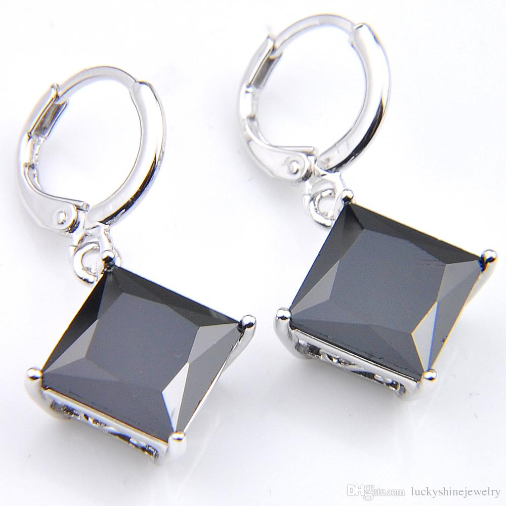 10Prs Luckyshine Classic Fashion Fire Square Onyx Stone Cubic Zirconia Gemstone Silver Dangle Earrings for Holiday Wedding Party