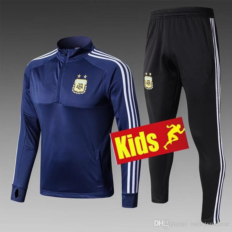c3f78c0fd6e 2019 Kids 2018 2019 World Cup Argentina Training Suit Child Tracksuit  Soccer Jersey MESSI DI MARIA AGUERO KOMPANY DYBALA Higuain Jerseys Football  From ...