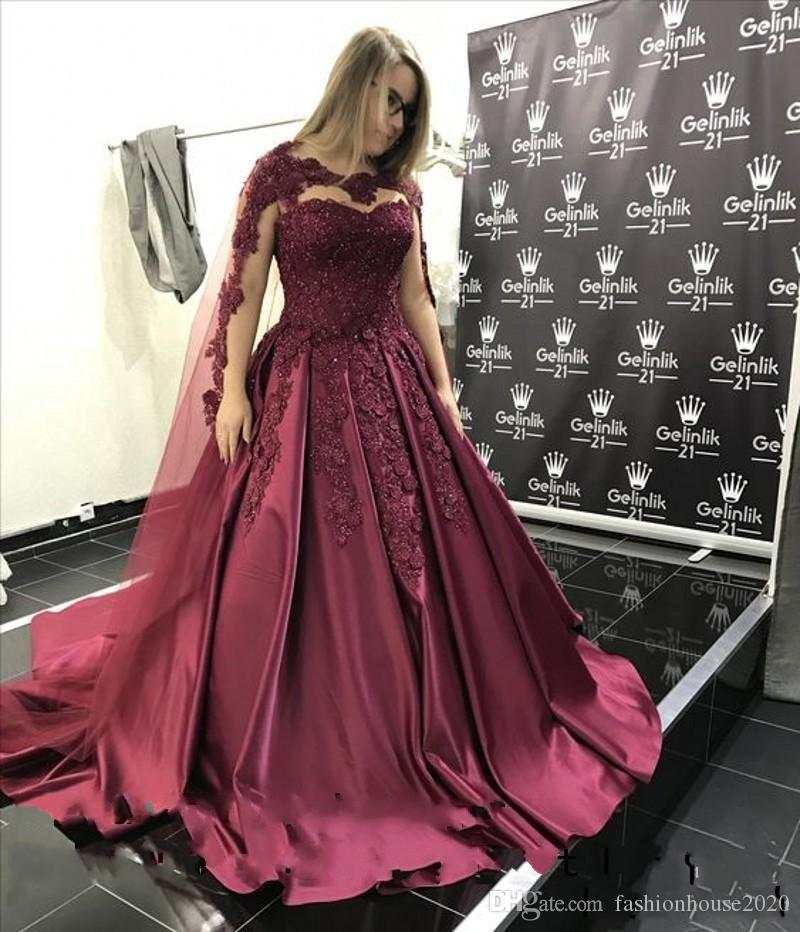 2018 Quinceanera Ball Gown Dresses Burgundy Jewel Neck Lace 3D Floral Applique Beaded Sweet 16 Wrap Illusion Satin Party Prom Evening Gowns