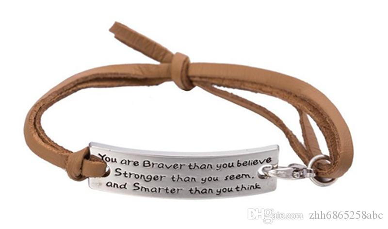 You Are Braver Than You Believe Charm Inspirational Leather Bracelet Jewelry