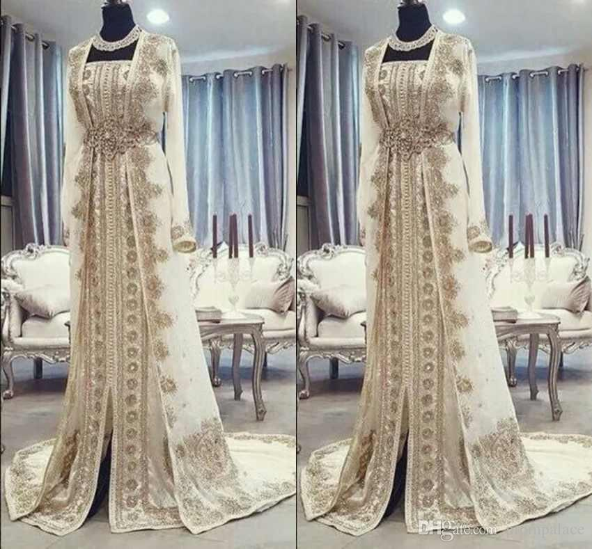 e64d8662dc Moroccan Caftan Kaftan Evening Dresses Dubai Abaya Arabic Long Sleeves  Amazing Gold Embroidery Square-Neck Occasion Prom Formal Gowns