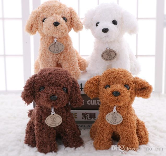 b5347a7e254 2019 20CM Small Puppy Stuffed Plush Dogs Toy White Orange Brown Light Brown  Soft Dolls Baby Kids Toys For Children Birthday Party Gifts From Mo om