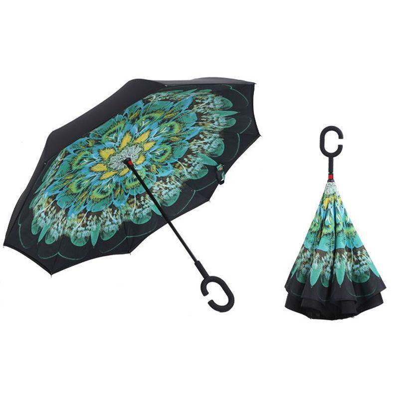 3b34f8105 2019 Peacock Folding Reverse Umbrella Double Layer Inverted Multifunction  Windproof Rain Hand Umbrellas For Women And Man Dropshpping From Sheiler,  ...