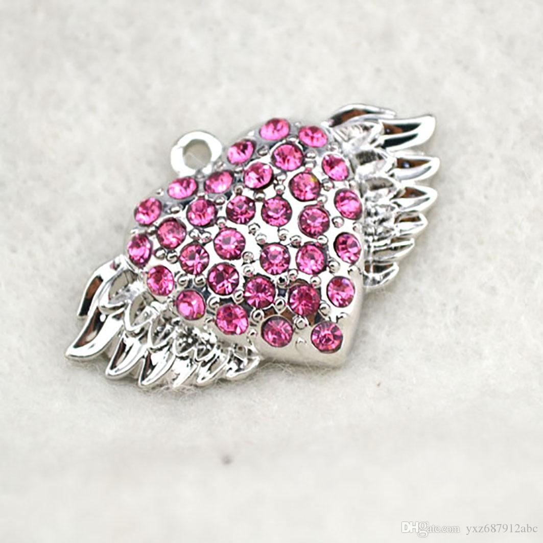 Angel Wings Heart Pendent with Pink Shining Crystal For Woman Girl Charm Apricot Fu Fashion Pendent Jewelry