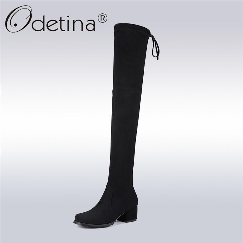 46b7a182914 Odetina 2018 New Sexy Women Faux Suede Over The Knee Boots Chunky Mid Heel Lace  Up Stretch Slim Thigh High Boots Big Size 34 43 Winter Shoes Low Boots From  ...