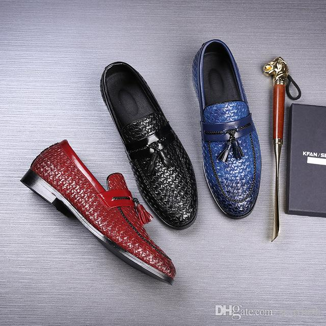 c76036477ff5 Luxury Brand Men Handmade Dress Shoes Retro Designer Leather Loafers Mens  Business Wedding Flats Casual Shoes Plus Size 39 46 Q 458 Slip On Shoes  Mens ...