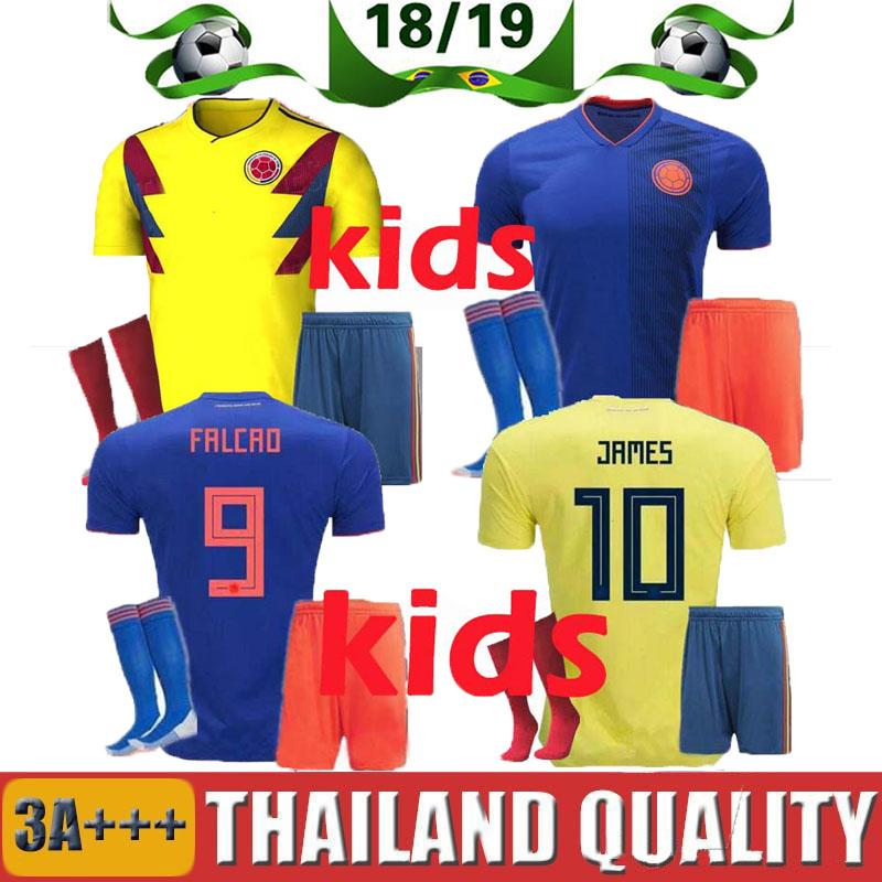 2019 JAMES 2018 World Cup Colombia Soccer Jersey Kids Kit 2018 Colombia Home  Yellow Soccer Jerseys Child Soccer Shirts Uniform Jersey Shorts SOCK From  ... 65770bbeb