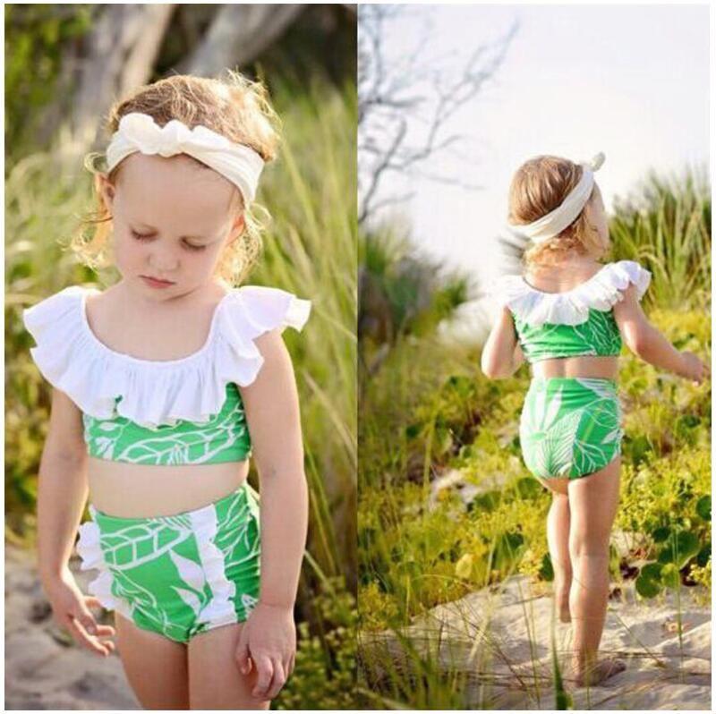 فتاة يترك طباعة ملابس السباحة طفل لوتس الرقبة ملابس قطعتين أطفال الصيف بيكيني مجموعات ملابس الطفل CN G023