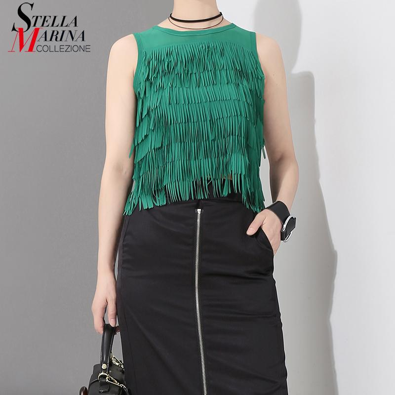 3f9b7263c41 2019 New 2018 Korean Style Summer Clothing Sleeveless Tank Top With Tassel  Stitched Solid Green Black Girls Cute Wear Top Femme 7117 From Charle