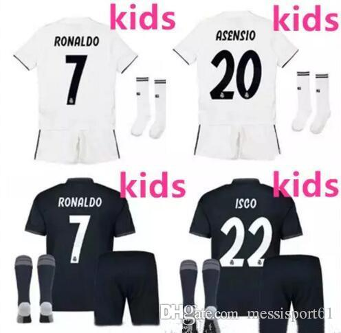 6c5ebfe42 Real Madrid Soccer Jerseys 18 19 Kids Home Away Soccer Jersey Kits ...