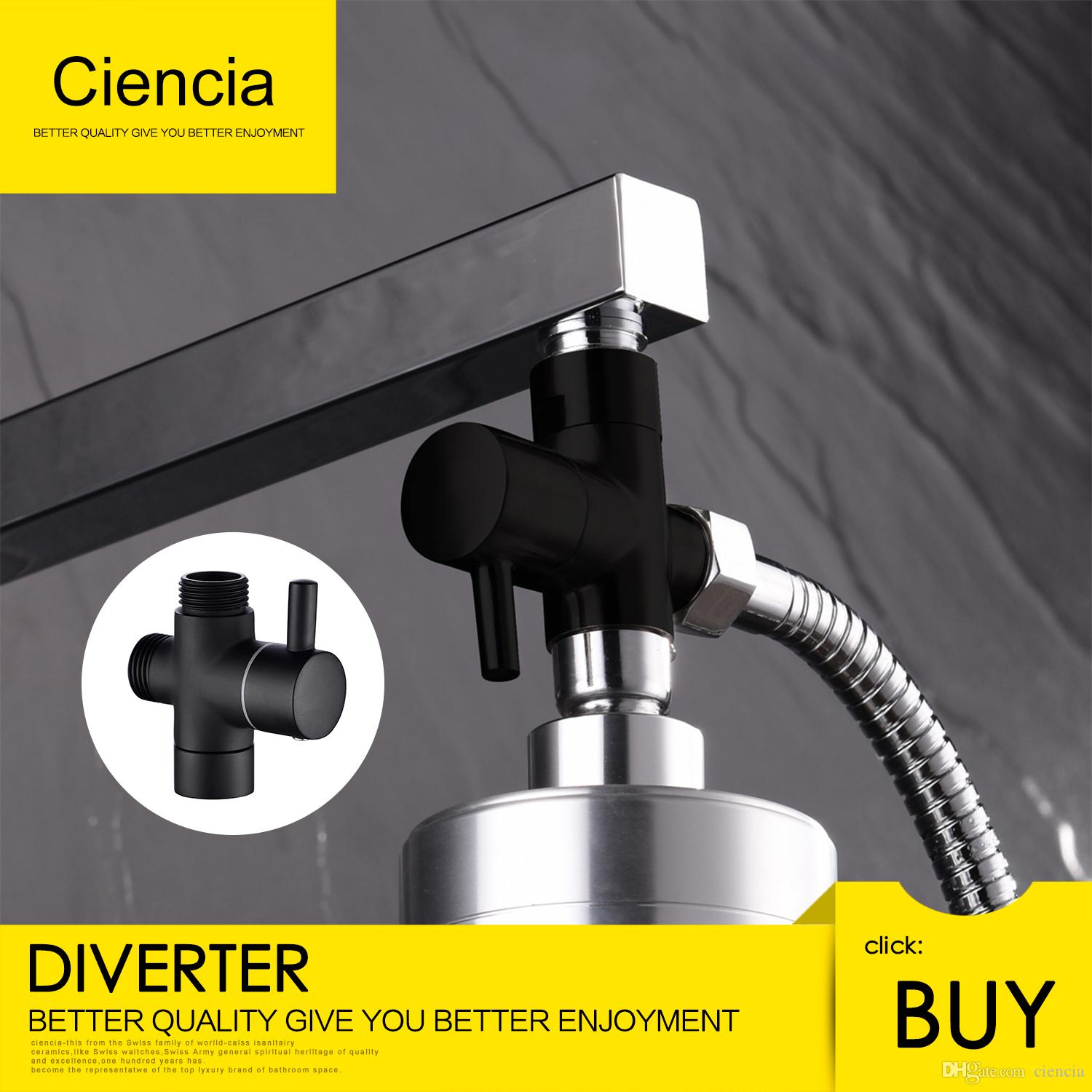 2019 Ciencia Brass Black 3 Way Diverter Valve For Handheld Shower Switch And Outlet Free Shipping Head Or Bath Tap T Adapter
