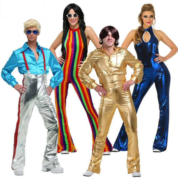IREK Hot Halloween Costume Cosplay Costume Stage Performances Clothing  Golden Blue Colored 70u0027S Trendy Disco Halloween Costumes For Groups Of 4  Family ...