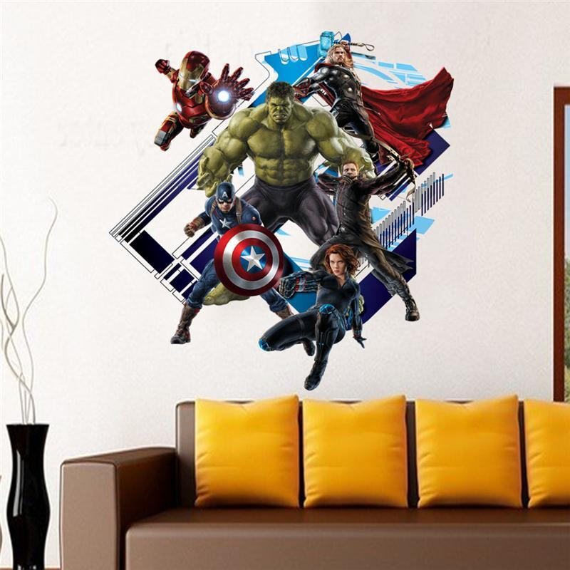 super hero the avengers wall stickers kids room decor y007. diy home decals cartoon movie fans mural cover art pvc print poster