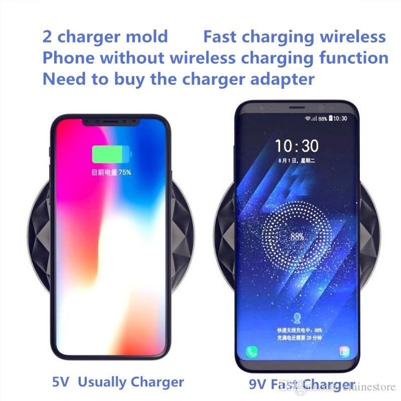 Diamond Qi Wireless Fast Charger Pad Power Ultra-thin With LED Light For iphone X 8plus 8 Samsung S8 S8plus With Retail Box
