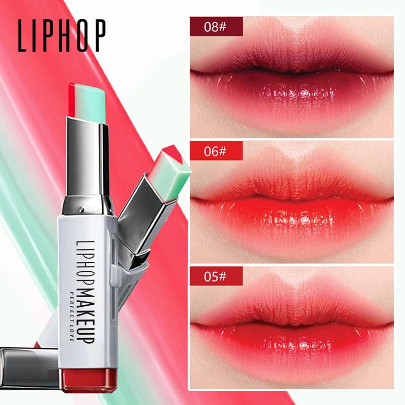 LIPHOP Brand Lips Makeup Kit Double Color Pigment Red Pink Long Lasting Gradient Color Moisturizer Lipstick Kat Von D Lipstick Lakme Lipstick From Carloas, ...