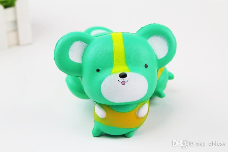 Cute 11cm size Jumbo Squishy kawaii mouse pink and the green lovely slow rise of small mouse children cartoon squishyies toy