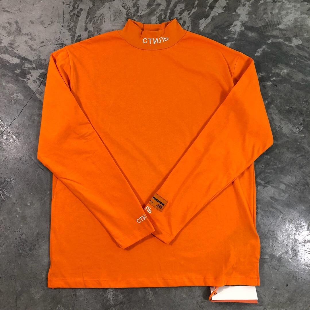 Meilleure Qualité Héron Preston Hommes Femmes Col Roulé Col Broderie T-shirt Pull Hiphop Mode À Manches Longues Coton T-shirt